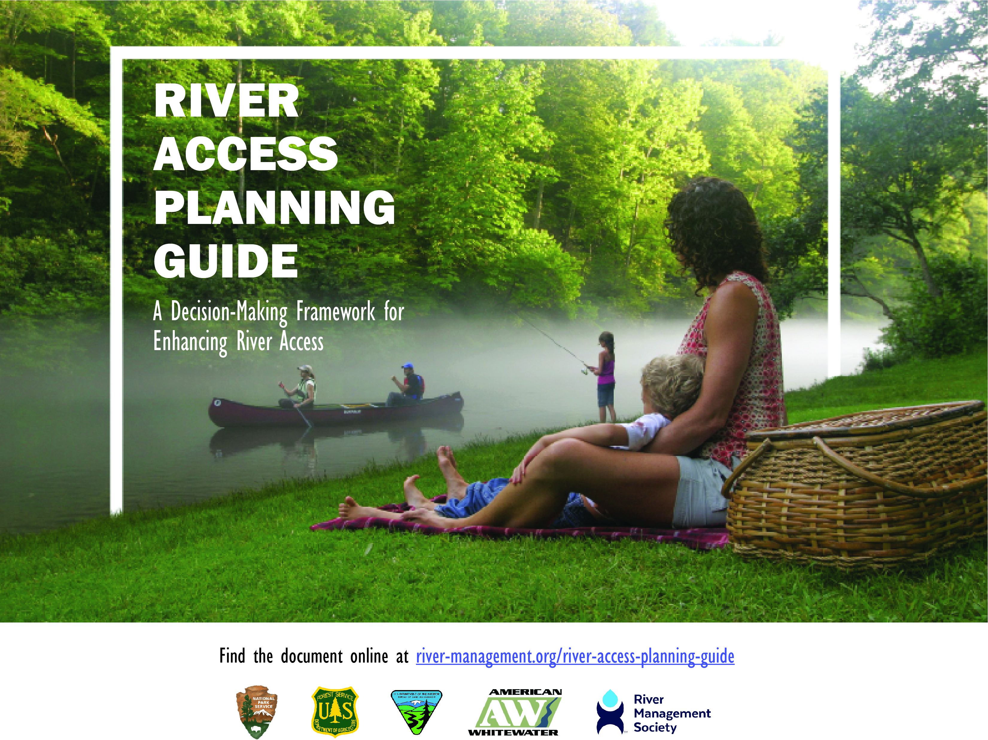 Promotional image for River Access Guide. Person sitting on a grassy hill, looking at canoers and anglers in the river.